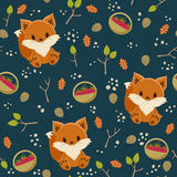 Seamless fox wallpaper. Seamless wallpaper. Baby fox with a basket of raspberry in a forest Stock Image