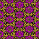 Seamless fractal pattern with pink flowers and gold entwined circles Royalty Free Stock Images
