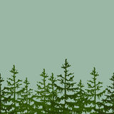 Seamless Frame background with fir. Vector illustration for your design, posters, greeting card, banners. Stock Photo