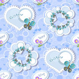 Seamless with  frames  and butterflies Stock Photo