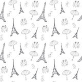 Seamless France pattern with Eiffel tower Stock Photo