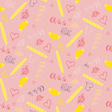 Seamless french pattern with croissants and baguettes Royalty Free Stock Images