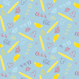 Seamless french pattern with croissants and baguettes Royalty Free Stock Image