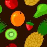 Seamless fresh fruits illustration Royalty Free Stock Photos