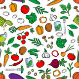 Seamless fresh and pickled vegetables pattern Stock Photography