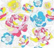 seamless färgrik blom- modell Fotografering för Bildbyråer
