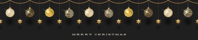 Seamless frieze with Christmas decoration - patterned baubles with golden stars. stock illustration