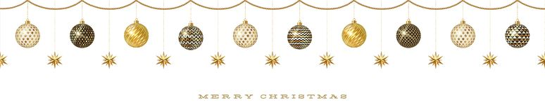 Seamless frieze with Christmas decoration - patterned baubles with golden stars. royalty free illustration