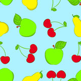 Seamless fruit background. Apple, cherries and a pear Stock Photos