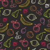 Seamless fruit hand drawn pattern with apple, cherry, lemon, banana, strawberry, plum, pear, peach, orange. Vintage boho backgroun Stock Images
