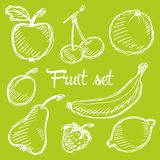 Seamless fruit hand drawn pattern with apple, cherry, lemon, banana, strawberry, plum, pear, peach, orange. Vintage boho backgroun Stock Photography