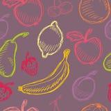 Seamless fruit hand drawn pattern with apple, cherry, lemon, banana, strawberry, plum, pear, peach, orange. Vintage boho backgroun. D texture. Good for menu and Stock Photo