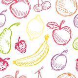 Seamless fruit hand drawn pattern with apple, cherry, lemon, banana, strawberry, plum, pear, peach, orange. Vintage boho backgroun Royalty Free Stock Image