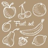 Seamless fruit hand drawn pattern with apple, cherry, lemon, banana, strawberry, plum, pear, peach, orange. Vintage boho backgroun Royalty Free Stock Photography