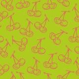 Seamless fruit hand drawn pattern with apple, cherry, lemon, banana, strawberry, plum, pear, peach, orange. Vintage boho backgroun. D texture. Good for menu and Stock Photos