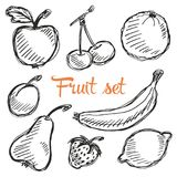 Seamless fruit hand drawn pattern with apple, cherry, lemon, banana, strawberry, plum, pear, peach, orange. Vintage boho backgroun Royalty Free Stock Photos
