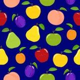 Seamless fruit pattern on blue background stock illustration