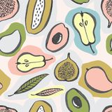 Seamless fruit pattern with colorful design stock illustration