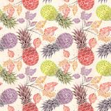 Seamless fruit pattern. Colorful pineapples, sprigs on a light beige background . Seamless fruit pattern. Colorful pineapples, watercolor sprigs on a light stock illustration