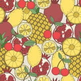 Seamless fruit pattern of pineapples, lemons, pomegranates, cherries Stock Photos