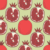 Seamless fruit pattern of pomegranates Stock Images