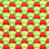 Seamless Fruit Pattern with Strawberry and Kiwi. Stock Photos