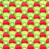 Seamless Fruit Pattern with Strawberry and Kiwi. Stock Photos