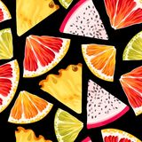 Seamless fruit pattern. Seamless tropic fruits slices on black background royalty free illustration
