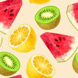 Seamless fruit pattern. Seamless tropic fruits slices on white background royalty free illustration