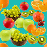 Seamless fruit pattern. In turquoise background Royalty Free Stock Image