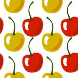 Seamless fruit pattern with yellow and red cherry vector illustration