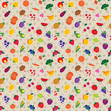 Seamless fruit and vegetable pattern. Vector seamless checked pattern with colorful fruits and vegetables Royalty Free Stock Images