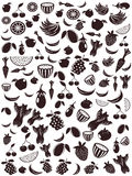 Seamless fruit and vegetable patterns Stock Photos