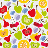Seamless fruits pattern Stock Photos
