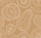 Seamless fruits pattern. Abstract background with fruits. Health. Y food texture. Vector illustration Stock Images