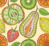 Seamless fruits pattern. Abstract background with fruits. Health Royalty Free Stock Image
