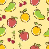 Seamless Fruits Pattern, apple orange cheery mango. Cute and colorful vector illustration