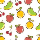 Seamless Fruits Pattern, apple orange cheery mango. Cute and colorful royalty free illustration