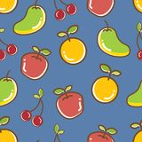 Seamless Fruits Pattern, apple orange cheery mango. Cute and colorful stock illustration