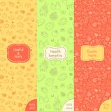 Seamless fruits patterns. Vector set of seamless patterns for organic, healthy and vegan food, packaging for vegetarian products, shops and websites. Yellow Royalty Free Stock Image