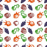 Seamless fruits vector pattern, background with colorful strawberries, pomegranates, pears and blackberries. Hand sketch drawing Royalty Free Stock Image
