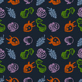 Seamless fruits vector pattern, background with colorful strawberries, pomegranates, pears and blackberries. Royalty Free Stock Image