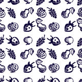 Seamless fruits vector pattern, background with strawberries, pomegranates, pears and blackberries. Hand sketch drawing. Royalty Free Stock Photo