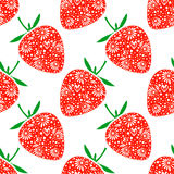 Seamless fruits vector pattern, bright chaotic background with closeup decorative ornamental strawberries, on the white backdrop Stock Photo