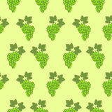 Seamless fruits vector pattern, bright color background with grapes and leaves, over green backdrop Stock Photo