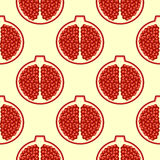Seamless fruits vector pattern, bright color background with pomegranates, over light backdrop Royalty Free Stock Photography