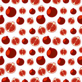 Seamless fruits vector pattern, bright color background with pomegranates, whole and half, over light backdrop Stock Image