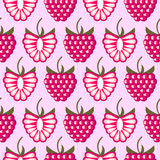 Seamless fruits vector pattern, bright color background with raspberries Royalty Free Stock Images
