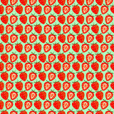 Seamless fruits vector pattern, bright color symmetrical background with strawberries, whole and half, over green backdrop.  Stock Image