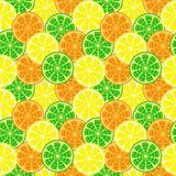 Seamless fruits vector pattern, bright colorful background with oranges, lemons and limes Royalty Free Stock Image